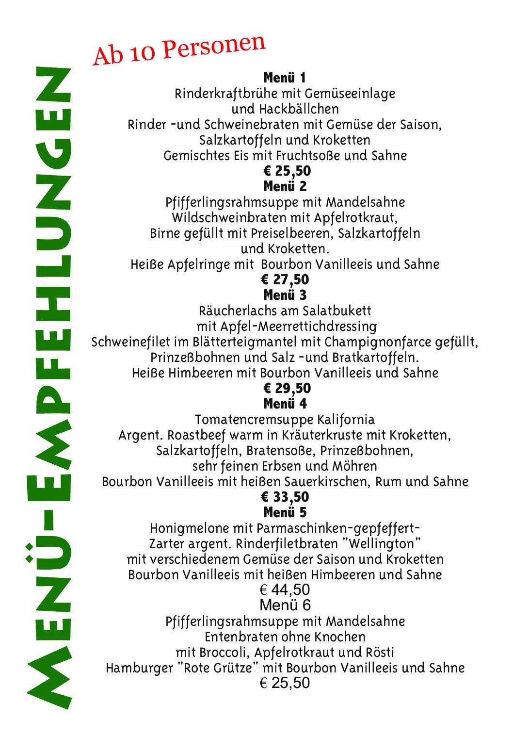 Waldcafe Corell, Speisekarte, Menü-Empfehlungen