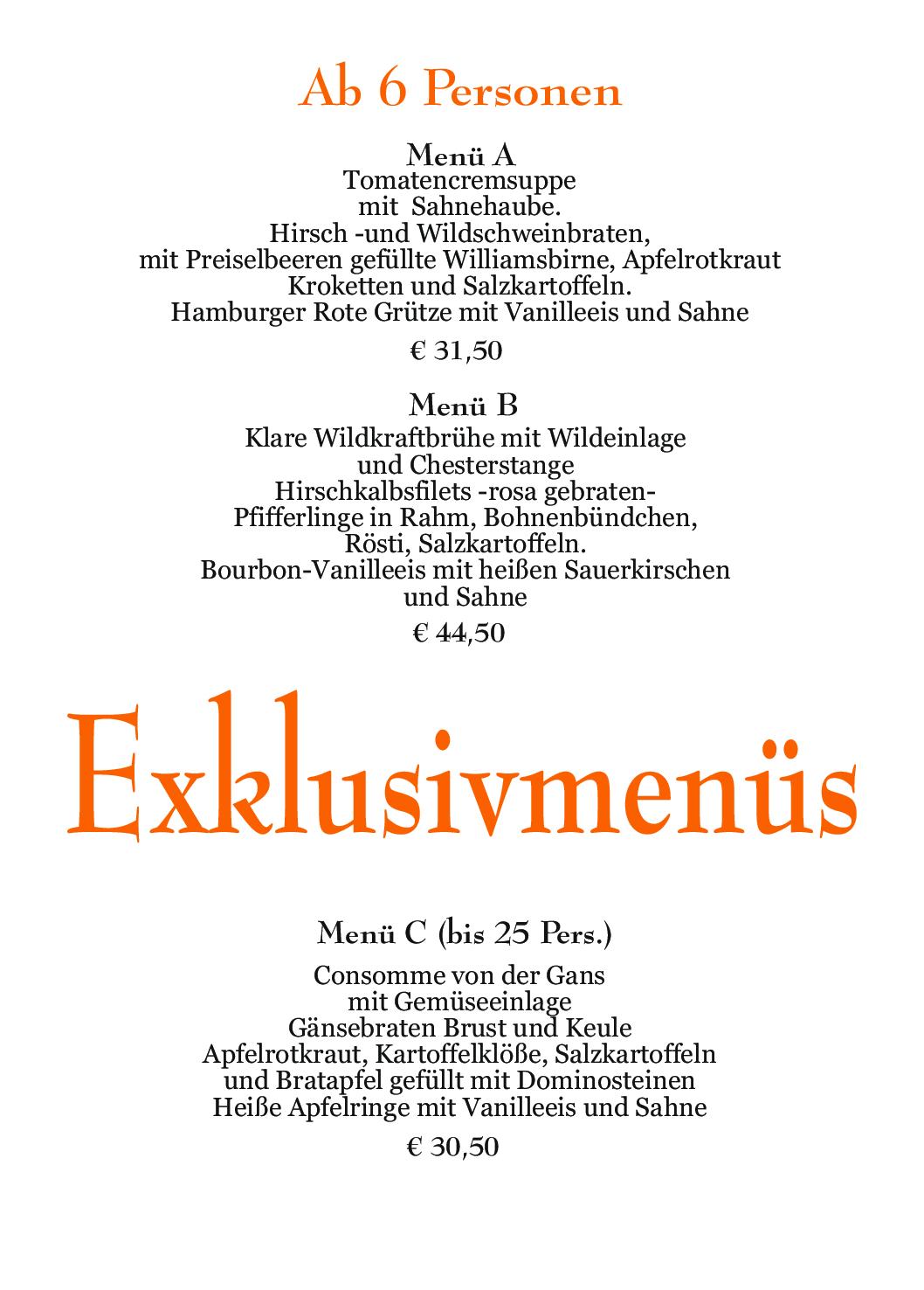 Waldcafe Corell, Speisekarte, Exklusivmenüs