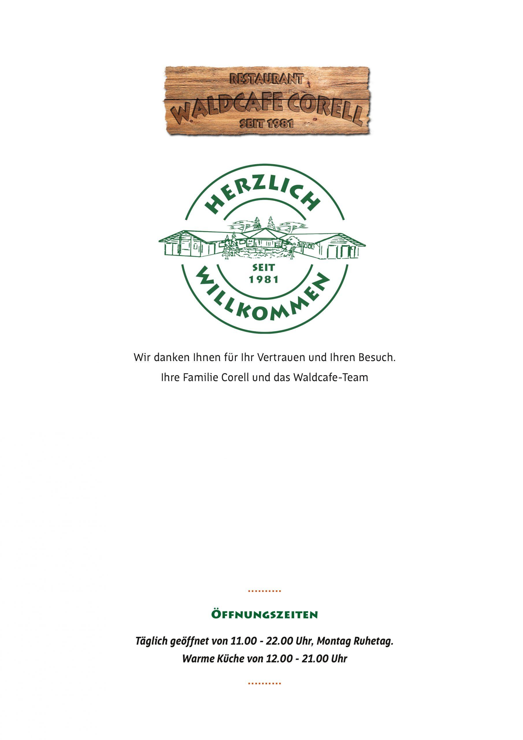 Waldcafe Corell, Speisekarte Seite 1