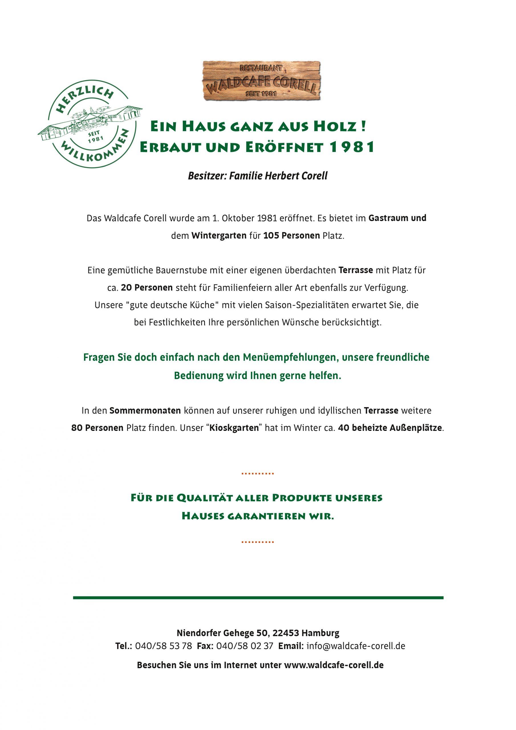 Waldcafe Corell, Speisekarte Seite 2