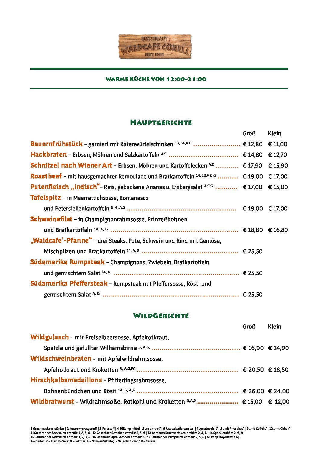 Waldcafe Corell, Speisekarte, Hauptgerichte, Wildgerichte