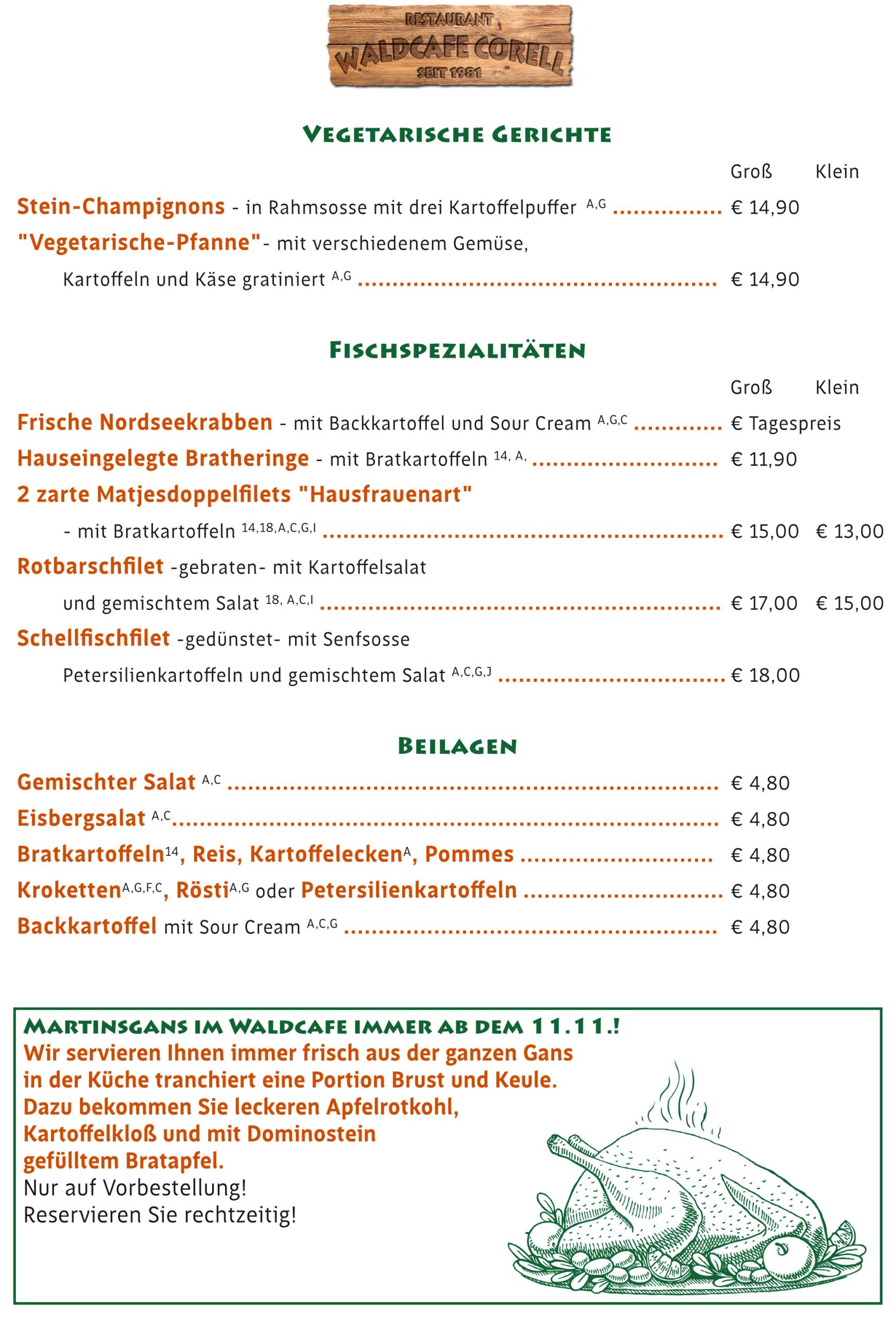Waldcafe Corell, Speisekarte, vegetarische Gerichte, Fisch, Beilagen