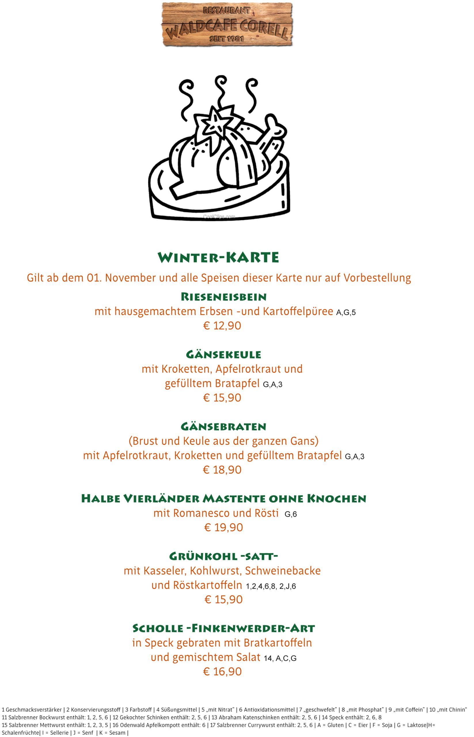 Waldcafe Corell, Winterkarte