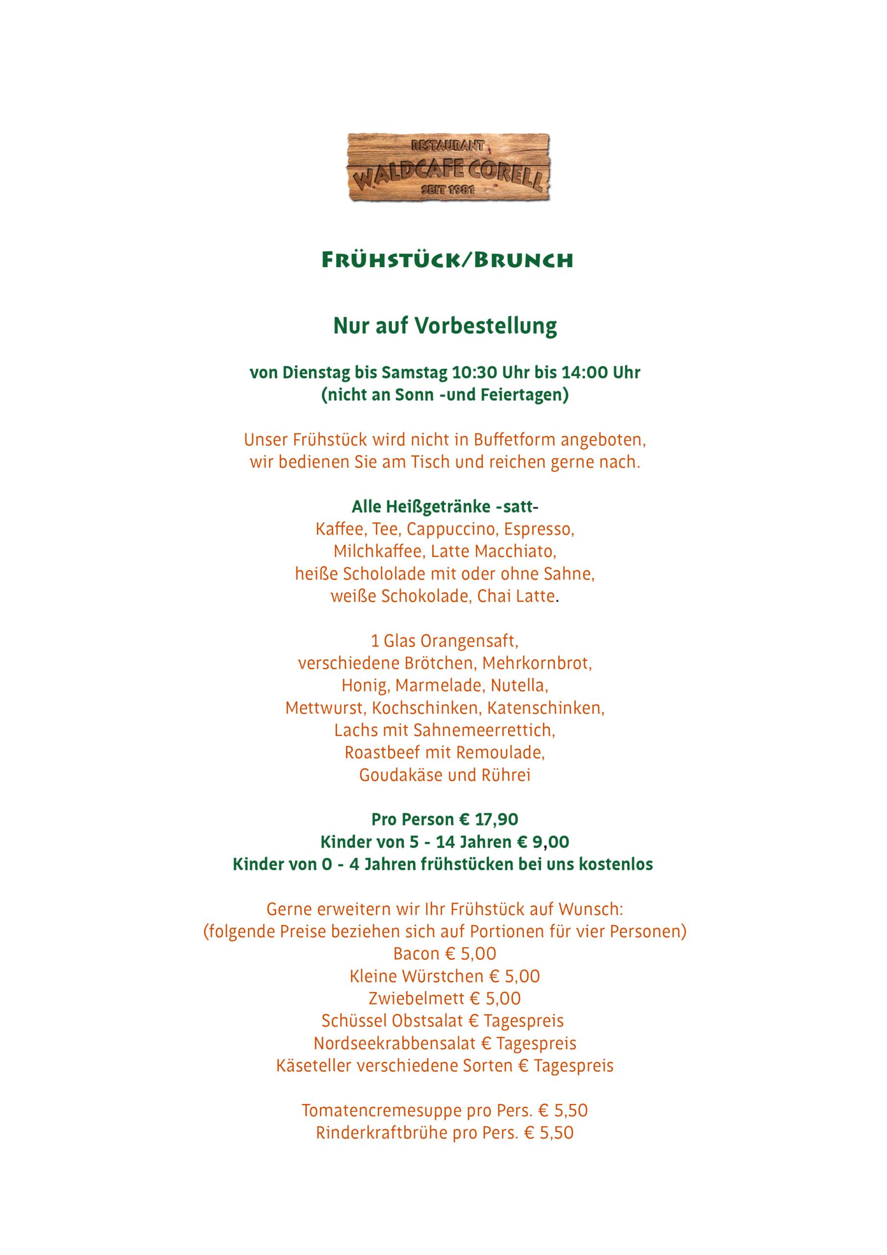 Waldcafe Corell, Speisekarte, Frühstück, Brunch