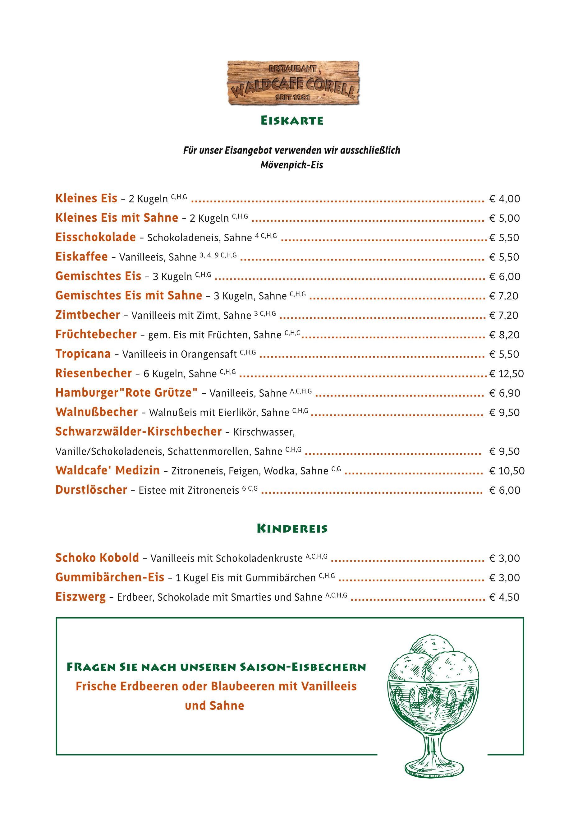 Waldcafe Corell, Speisekarte, Eis